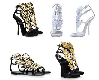 shoes wings heels gladiators gold