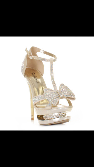shoes fabulous brand gold high platform high heel diamonds gold sparkles sparkle bows bow rhinestones shiny gold shiny straps sparkly strap