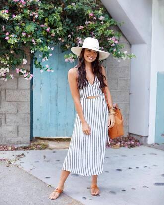 dress tumblr midi dress stripes striped dress sandals flat sandals hat sun hat bag shoes