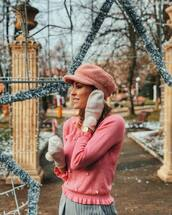 sweater,tumblr,pink sweater,all pink everything,all pink wishlist,pink,embellished,hat,fisherman cap,gloves,knitted gloves