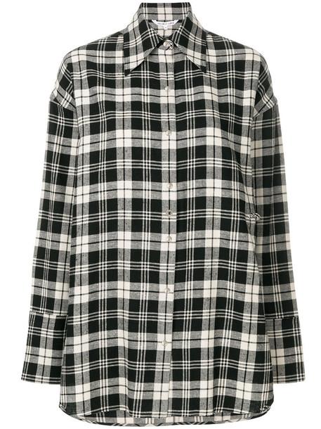 Helmut Lang shirt plaid shirt oversized women plaid cotton black top