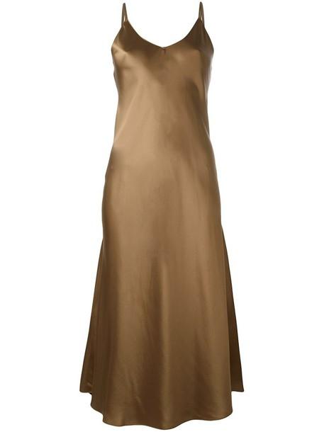 dress midi dress ruffle women midi silk brown