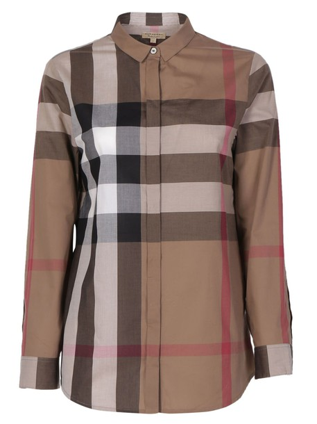 Burberry shirt brown taupe top