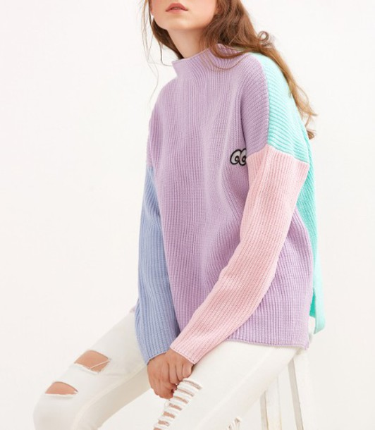 sweater girl girly girly wishlist purple pink colorblock high neck