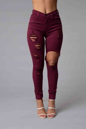 jeans burgundy pants maroon/burgundy ripped jeans