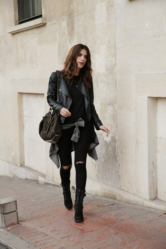 maritsa blogger black leather jacket platform lace up boots studded bag black ripped jeans