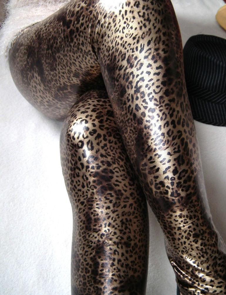 Gold Shiny Sexy Sleek Glossy Leopard Wam Fleece Leggings A052
