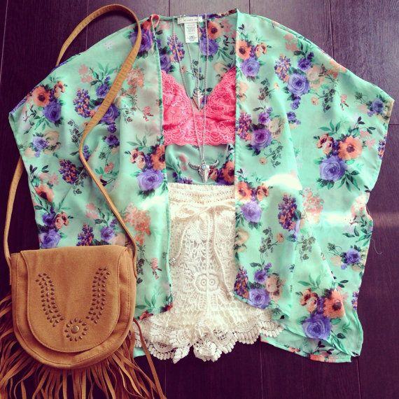 Mint floral kimono, floral kimono, bohemian kimono, kimono, chiffon c…