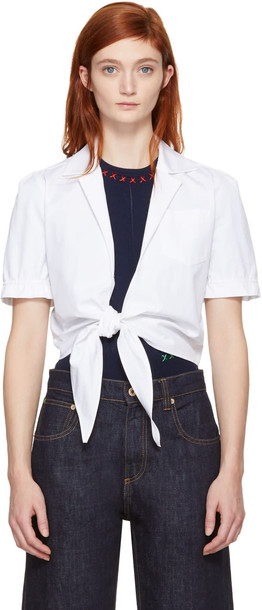 Carven blouse tie front white top