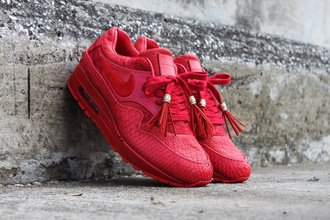 shoes nike air max 1 custom lambskin leather lizard sueded crocodile jbfcustoms red shoes leather lining red print nike sneakers custom sneakers nike air max 1 red red sneakers python python print nike air max snake skin nike air max 1 gtd croco
