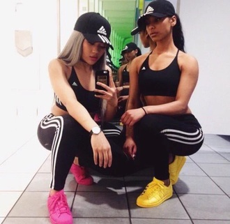 shirt pink yellow all black everything black black hat stylish trendy adidas crop tops black crop top workout leggings leggings friends best friends top best friend shirts streetstyle