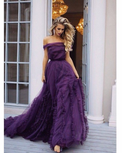 dress gown purple dress prom dress
