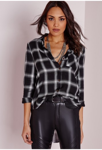 Missguided - Soft Touch Checked Shirt Grey