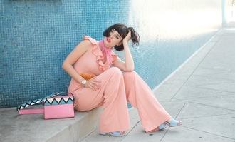 a fashion nerd blogger shoes jumpsuit belt bag jewels pink jumpsuit shoulder bag sandals spring outfits