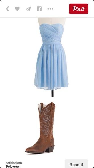 dress periwinkle bridesmaidsdress strapless short simple dress shoes