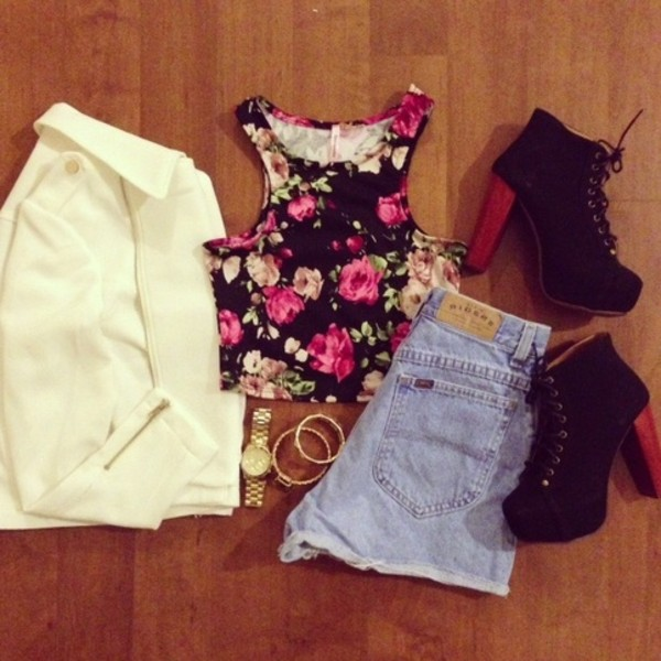 t-shirt crop tops shoes jacket shorts