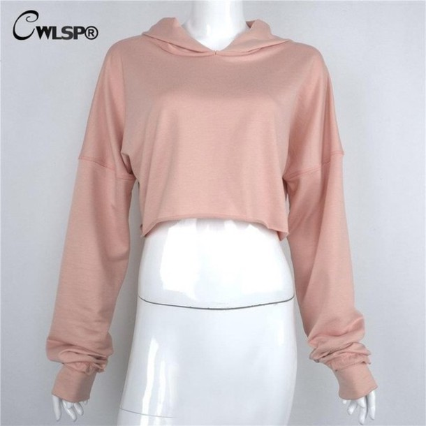 sweater cropped hoodie pink sweater
