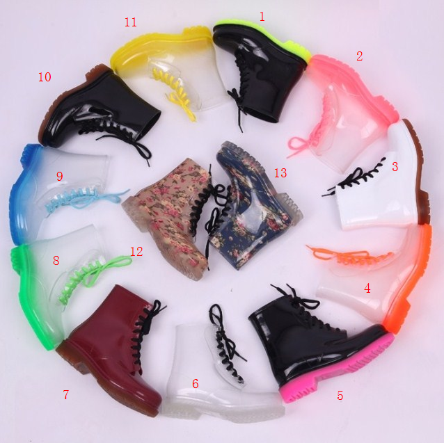 Transparent Colorful Lace-up Boots/Waterproof boots/Rain boots from Mad Bargains on Storenvy