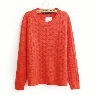 sweater casual orange knitwear knitted sweater winter sweater spring outfits waves sale