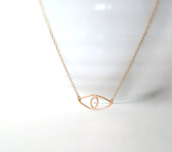 Gold Evil Eye Necklace Valentine's Day Lucky Eye by camilaestrella