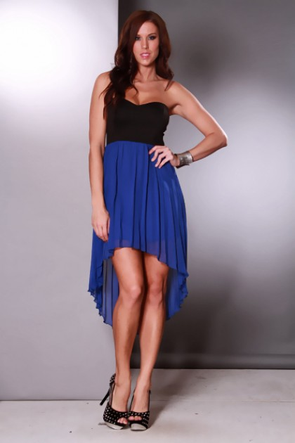 Black Royal Blue High Low Hem Pleated Strapless Sexy Dress