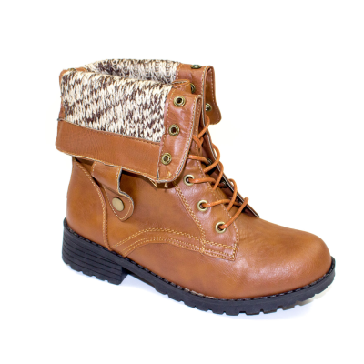 Sweater Cuff Lace-Up Combat Boots Cognac | Danice Stores