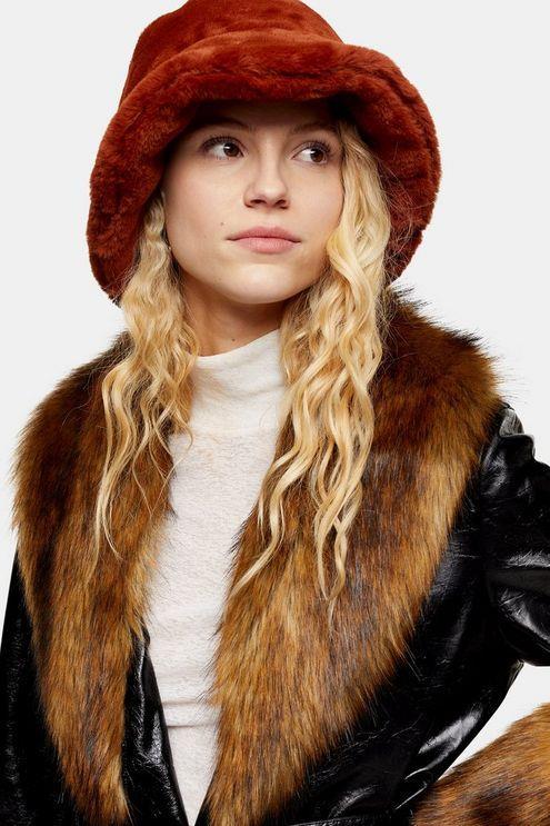 Ginger Faux Fur Bucket Hat - Ginger