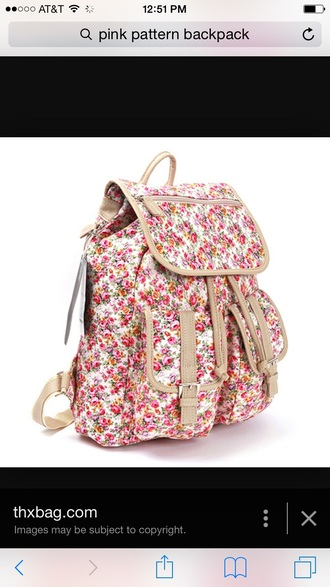 bag floral pink white flowers leather backpack