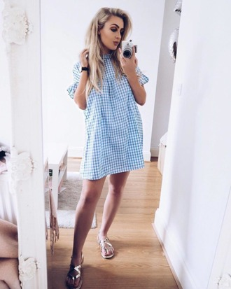 dress blue vanilla gingham gingham dresses babydoll dress short dress summer summer dress summer outfits