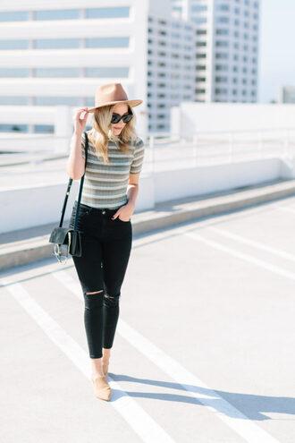 blondecollective blogger pants hat sunglasses bag shoes felt hat black jeans flats