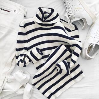 sweater tumblr stripes striped sweater striped top turtleneck turtleneck sweater sneakers white sneakers stan smith low top sneakers jeans white jeans striped turtleneck striped turtleneck sweater french girl style