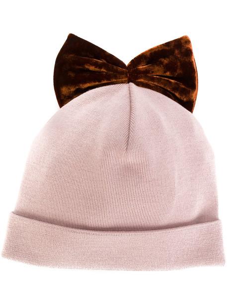bow beanie velvet purple pink hat