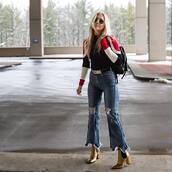 shoes,tumblr,boots,gold boot,ankle boots,pointed boots,high heels boots,thick heel,block heels,jeans,denim,blue jeans,flare jeans,ripped jeans,top,striped top,backpack,black backpack,sunglasses,metallic,metallic shoes,metallic boots,gold boots,thick heel boots