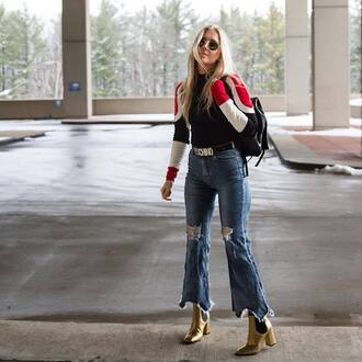 shoes tumblr boots gold boot ankle boots pointed boots high heels boots thick heel block heels jeans denim blue jeans flare jeans ripped jeans top striped top backpack black backpack sunglasses metallic metallic shoes metallic boots gold boots thick heel boots