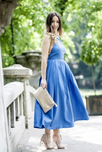 let's talk about fashion ! blogger bag shoes blue dress halter dress clutch nude heels lace up heels