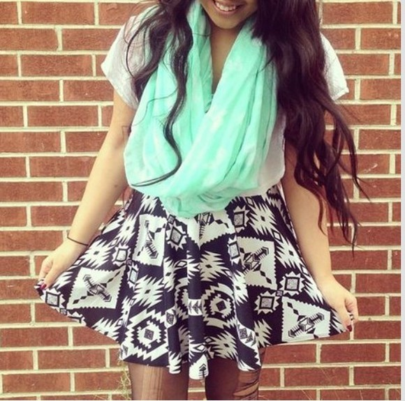 skirt black circle skirt white skater skirt aztec