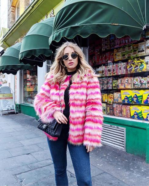 jacket tumblr stripes striped jacket sunglasses bag black bag fur jacket faux fur jacket