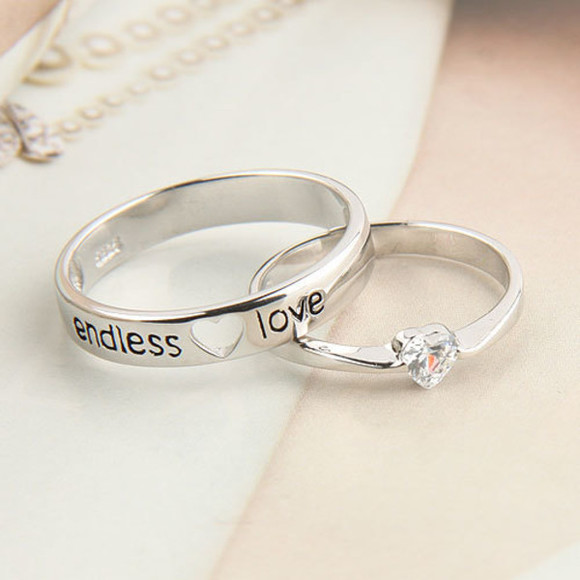 jewels engagement ring silver rings silver rings cute couples endless love adorable marriage