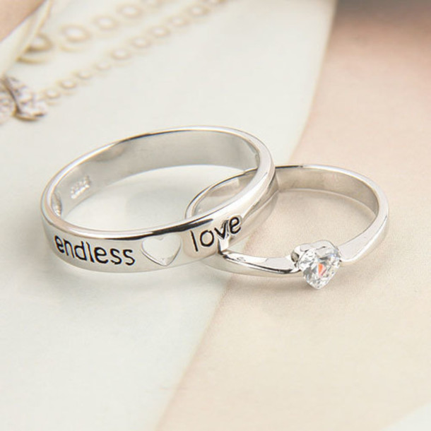 Jewels Engagement Ring Cute Silver Ring Silver Couple Ring Endless Love Lovely Marriage ...