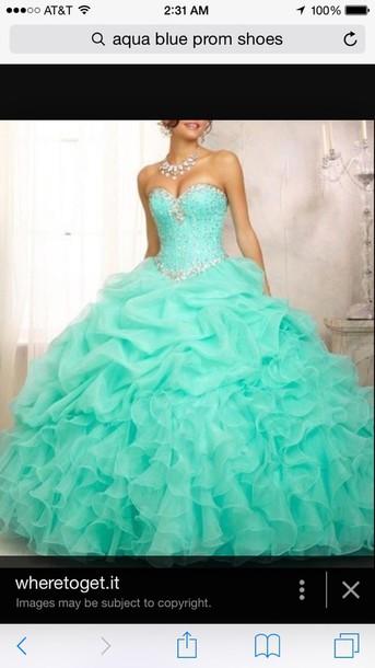 dress aqua blue prom dress