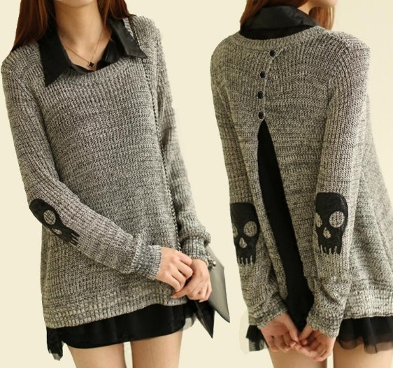 Women Leather Turn down Collar Full Sleeve Skull Decor Solid Gray Back Slit Tops Long Sweater Free Shipping S228B 5885-in Pullovers from Apparel & Accessories on Aliexpress.com