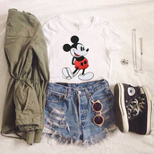 jacket,t shirt.,mickey mouse,t-shirt,jewels,blouse,shorts,sunglasses,converse,shoes,summer outfits,outfit,skirt