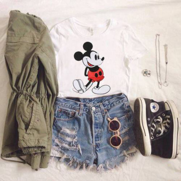 9fcf068d950e60 jacket t shirt. mickey mouse t-shirt jewels blouse shorts sunglasses  converse shoes summer