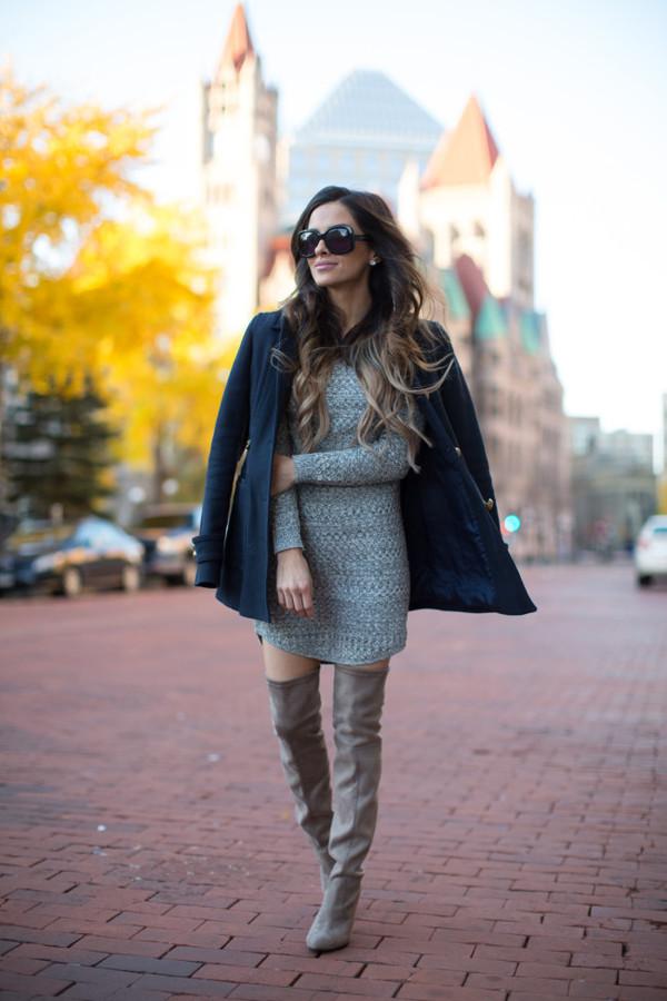 f74e9441725aae maria vizuete mia mia mine blogger sweater dress coat shoes sunglasses