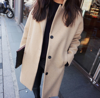 coat camel coat trendy winter outfits cream coat boyfriend coat pea coat large collar black outfit coat with pockets beige coat brown light brown boyfriend blazer mid-length coat button up coat boyfriend jacket cute similar exact
