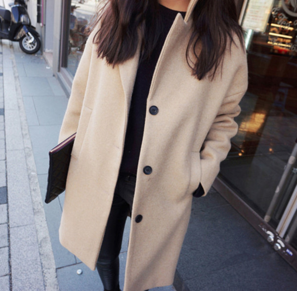 Coat: camel coat, trendy, winter outfits, winter outfits, cream ...