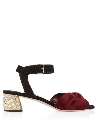 sandals suede satin black burgundy shoes