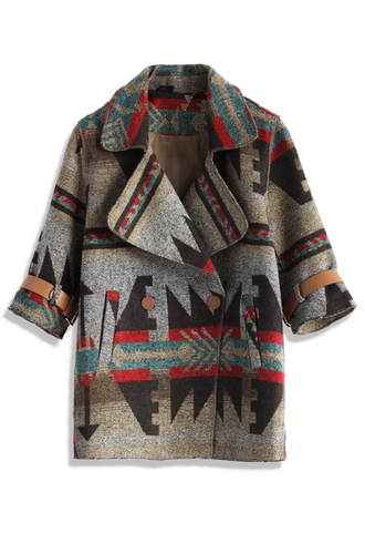 coat prairies tribal mid-sleeve duffle coat chicwish mid-sleeve top chicwish coat automn coat