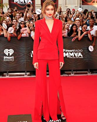 pants gigi hadid celebrity celebrity style red carpet wide-leg pants red pants blazer red blazer high heel sandals sandals red high heel sandals choker necklace necklace