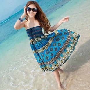 2014 Summer New Bohemian Cotton Ethnic Woman Braces Color Denim Tee Dress Printing Long Dress for Women Gift Free Shipping | Amazing Shoes UK